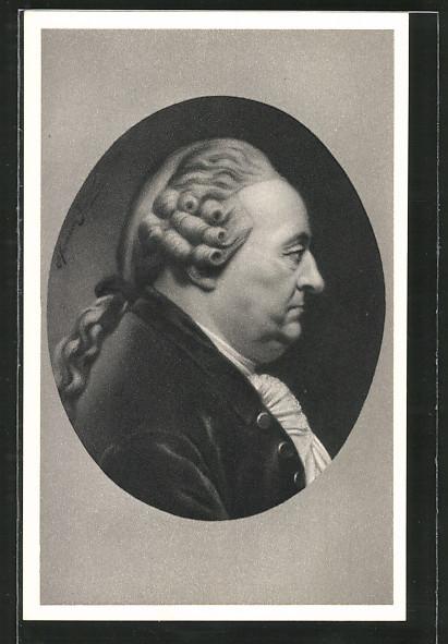 Künstler-AK Portrait Johann Caspar Goethe, des berühmten Dichters Vater