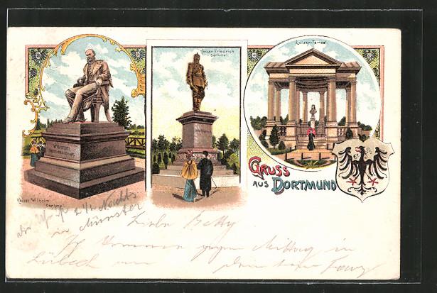 Lithographie Dortmund, Kaiser Wilhelm-Denkmal, Kaiser Friedrich-Denkmal, Luisen-Tempel, Wappen