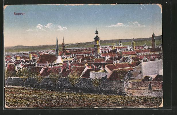 AK Sopron-Ödenburg, Teilansicht mit Kirchen