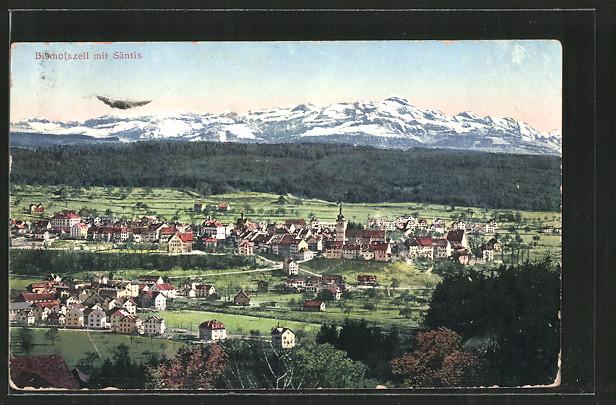 AK Bischofszell, Ortsansicht mit Säntis
