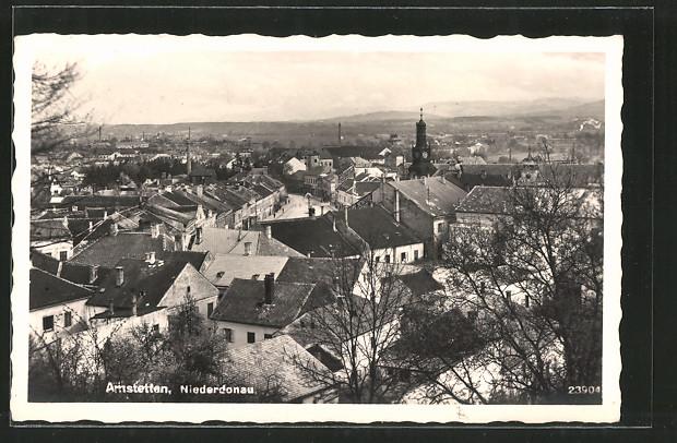 AK Amstetten, Blick über die Dächer der Stadt