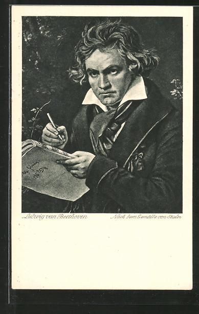 Künstler-AK Portrait Ludwig van Beethoven mit Notenheft