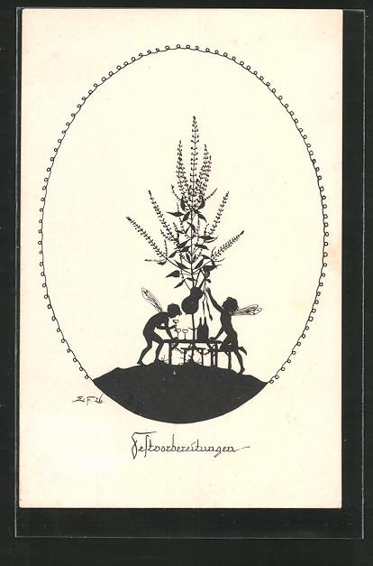 Künstler-AK Elsbeth Forck: Schattenbilder, Blumen und Elfen, Festvorbereitungen