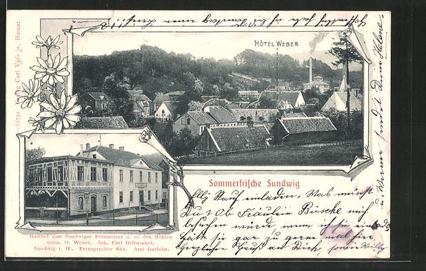 AK Sundwig, Gasthof zum Sundwiger Felsenmeer u. zu den Höhlen v. C. Bellwinkel, Hotel Weber mit Ortsansicht