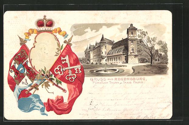 Präge-Lithographie Regensburg, Fürst Albert von Thurn & Taxis, Fürstl. Thurn & Taxis Palais, Fahnen