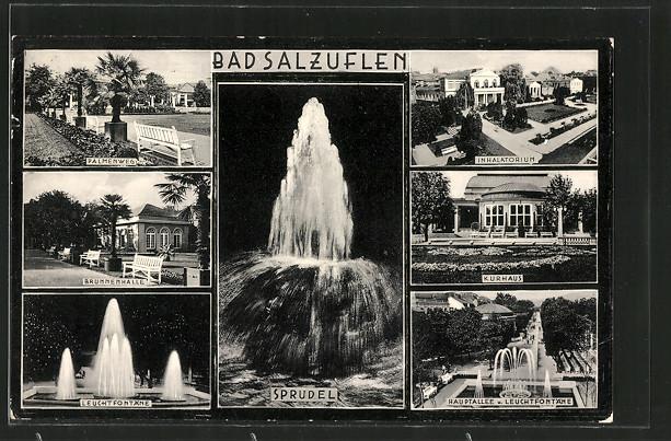 AK Bad Salzuflen, Sprudel, Kurhaus und Leuchtfontäne