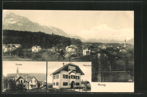 AK Morzg, Pfarrhof, Kirche, Ortsansicht mit Alpen-Panorama