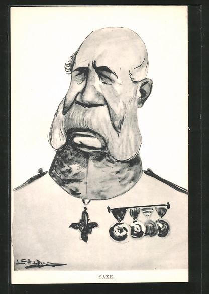 AK Karikatur von König Albert von Sachsen mit Orden
