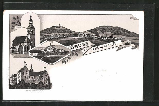 Lithographie Römhild, Stadtkirche, Kriegerwaisenhaus, Dampfmolkerei, Ortsansicht