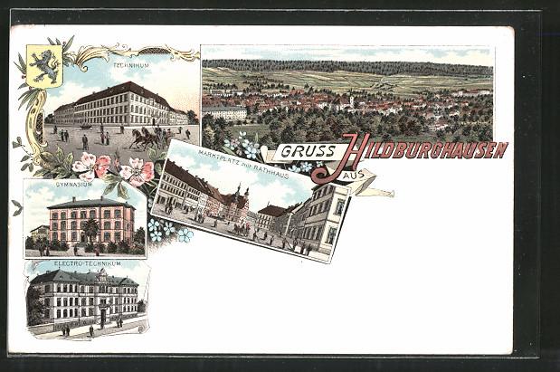 Lithographie Hildburghausen, Technikum, Gymnasium, Elektro-Technikum