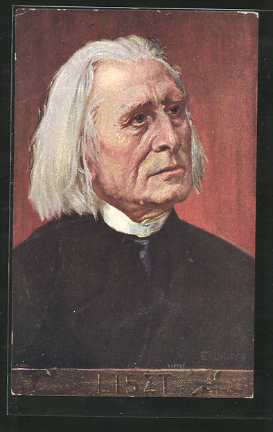 Künstler-AK Portrait des Komponisten Franz Liszt