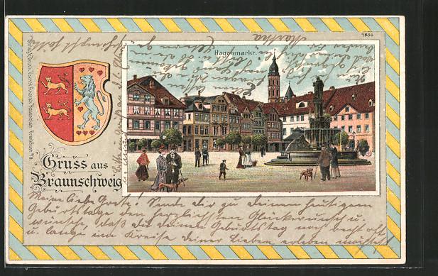Passepartout-Lithographie Braunschweig, Hagenmarkt mit Brunnen, Wappen