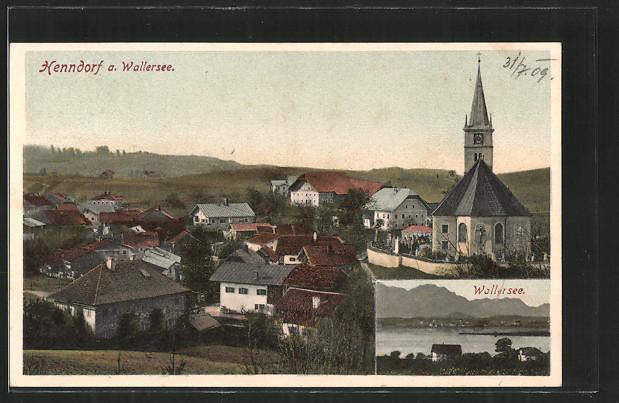 AK Henndorf a. Wallersee, Ortsansicht, Blick auf den Wallersee