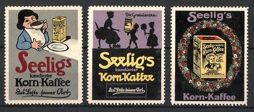 Reklamemarken Heilbronn, 3x Seelig's Korn-Kaffee, Mädchen trinkt Kaffee, Kinder beschenken Mutter, Blumenkranz & Kaffee