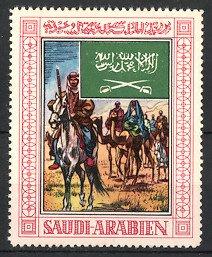 Reklamemarke Saudi-Arabien, Karawane mit Kamelen & Pferden, Fahne, Wappen