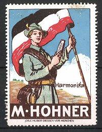 Reklamemarke M. Hohner Harmonika, Pfadfinder-Fahnenträger mit Mundharmonika & Reichsfahne
