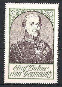 Reklamemarke Befreiungskriege, Portrait General Graf Bülow von Dennewitz in Paradeuniform