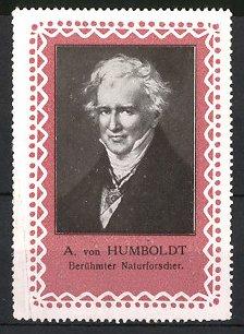 Reklamemarke Portrait Alexander von Humboldt, Naturforscher