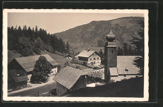 AK Krispl, Ortspartie mit Kirche und Friedhof