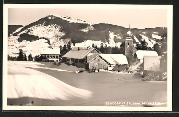 AK Krispl, Ortsansicht zur Winterzeit