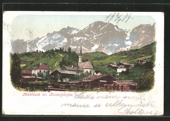 AK Mühlbach, Ortsansicht mit Kirche und Bergpanorama