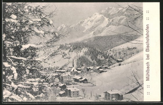 AK Mühlbach, Generalansicht im Winter