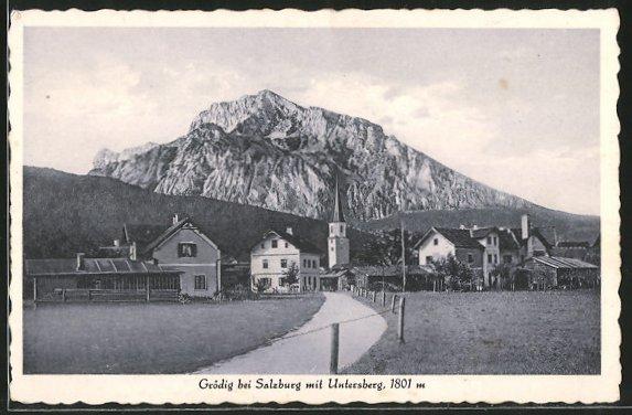 AK Grödig, Ortsansicht mit Untersberg