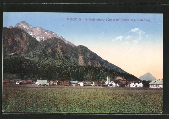 AK Grödig, Blick zum Ort mit Untersberg