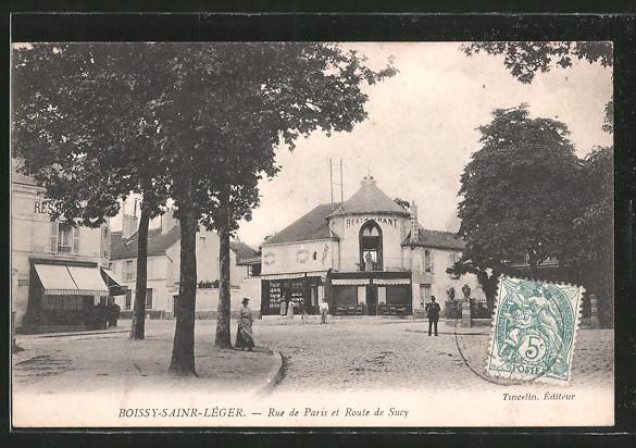AK Boissy-Saint-Léger, Rue de Paris et Route de Sucy