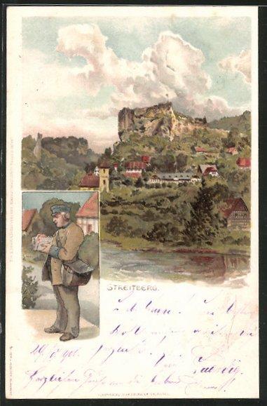 Lithographie Streitberg, Blick zur Burgruine Neideck, Briefträger sortiert Briefe