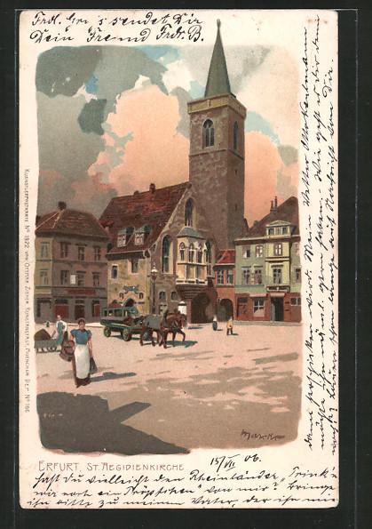 Künstler-Lithographie Alexander Marcks: Erfurt, St. Aegidienkirche mit Passaten, Pferdegespann