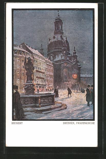 Künstler-AK Fritz Beckert: Dresden, Frauenkirche bei Nacht