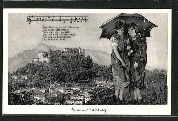 Regen-AK Salzburg, Gesamtansicht, zwei hübsche Frauen unterm Regenschirm