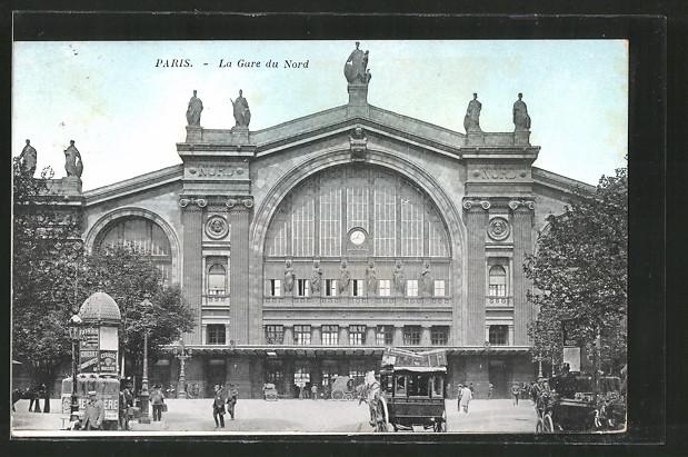 AK Paris, La Gare du Nord, Blick zum Bahnhof