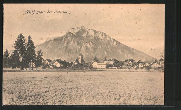 AK Anif, Panorama gegen den Untersberg