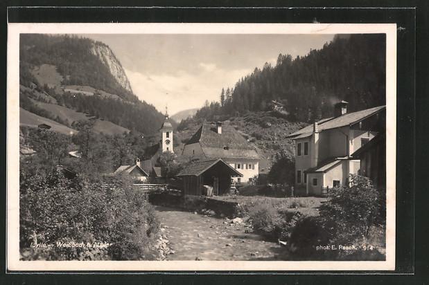 AK Weissbach, Ortspartie an der Kirche