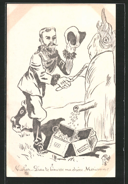 Künstler-AK Karikatur, Zar Nikolaus II. von Russland pumpt sich Geld von der Marianne
