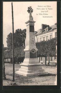 AK Orbec, Monument aux morts pour la France 1914-1918