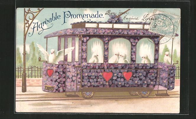 Präge-AK Blumenbild, Veilchen bilden eine Strassenbahn, Tauben