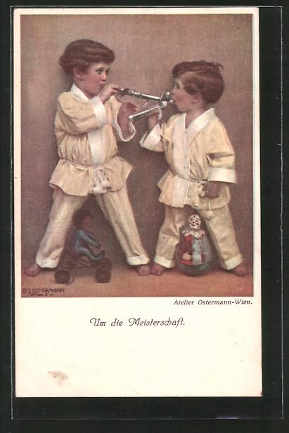 Künstler-AK F. J. Ostermann: Um die Meisterschaft, Kinder mit Trompeten