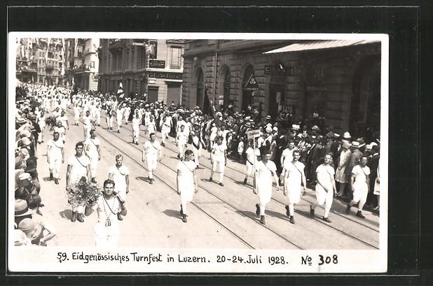 AK Luzern, Eidg. Turnfest 1928, Festzug der Turner