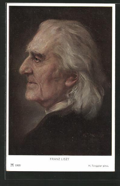 AK Seitenprofil des Komponisten Frank Liszt