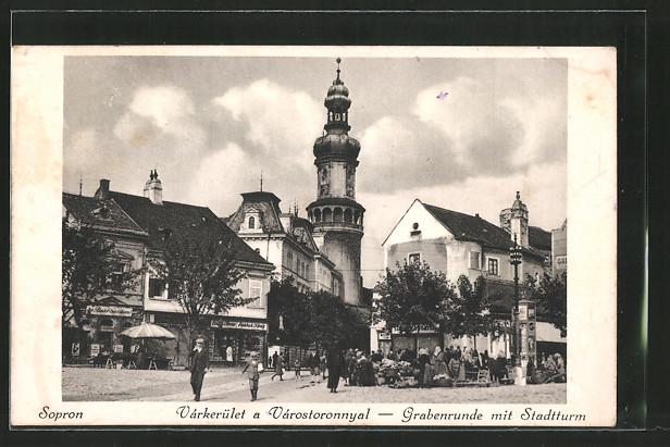 AK Sopron-Ödenburg, Varkerület a Varostoronnyal, Grabenrunde mit Stadtturm