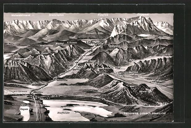 Ak Oberammergau Landkarte Der Umgebung Der Ortschaft Nr 6616251