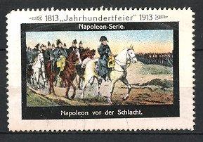 Reklamemarke Befreiungskriege, Napoleon zu Pferd vor der Schlacht