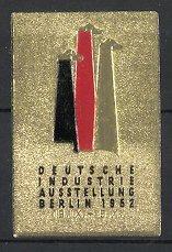 Präge-Reklamemarke Berlin, Deutsche Industrie-Ausstellung 1952, Schornsteine in Farben der Deutschland-Fahne