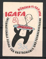 Reklamemarke München, IGAFA Int. Schau für Gastronomie & Fremdenverkehr 1954, Kellner serviert Speise