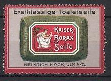 Reklamemarke Ulm, Kaiser Borax Seife, Heinrich Mack, Packung Toilette-Seife