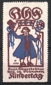 Künstler-Reklamemarke Paul Neu, München, Bayerische Gewerbeschau & Kindertag 1912, Knabe hält Blumen & grüsst mit Hut