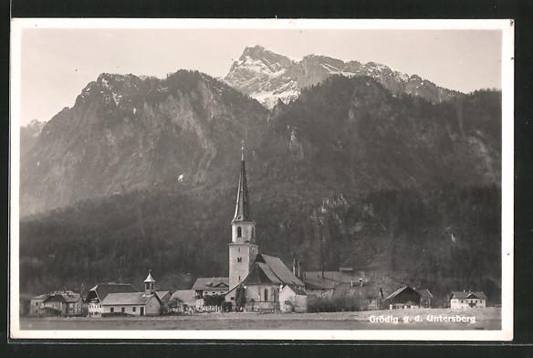 AK Grödig, Ortsansicht gegen d. Untersberg